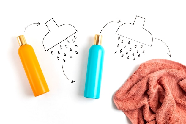 Shower and bath accessories, shampoo, conditioner, gel, body milk, towel. daily hygiene routine concept