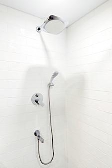 Shower in a bright bathroom