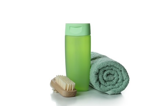 샤워 젤, 수건 및 브러시 흰색 절연