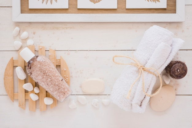 Shower tools placed on wooden table