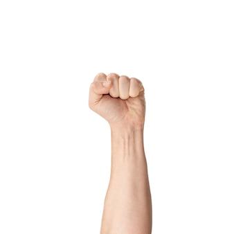 Показывает кулак. протестующий, подняв руку в первую очередь, изолированные на белом фоне. жесты рук человека, изолированные на белом.