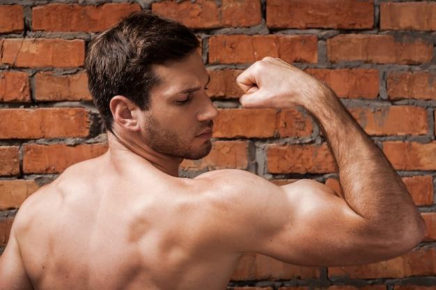 彼の完璧な二頭筋を示しています。自信を持って若い筋肉の男のポーズの背面図