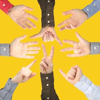Показывать знаки пальцев для выражения эмоций. руки языка жестов