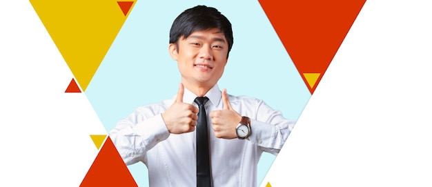 Показывает палец молодой азиатский деловой человек