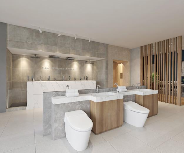 Интерьер выставочного зала современной ванной комнаты