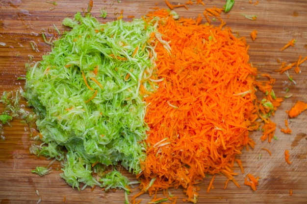 Shredded carrots and zucchini using a grater