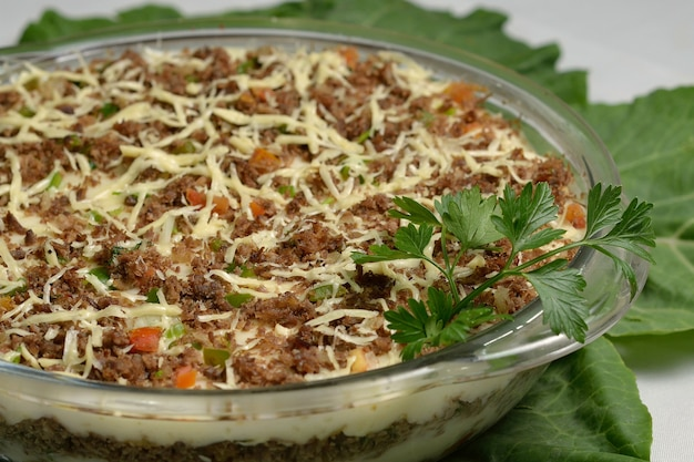 Shredded sun meat with cassava. healthy and popular dish of northeastern brazilian cuisine.