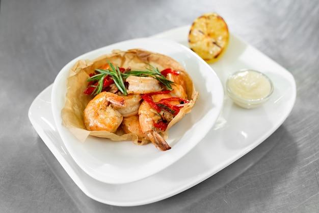 Shrimp dish on the kitchen table