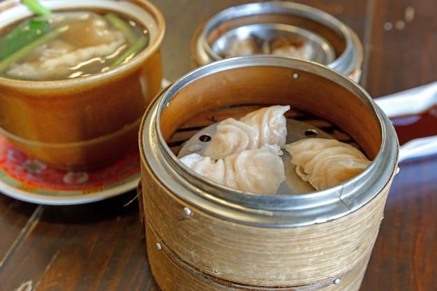 Shrimp dumplings soup in a bowl