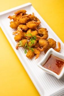Shrimp fritters or prawn bajji or jheenga pakodaãƒâƒã'â'ãƒâ'ã'âor kolambi or zinga pakora, indian snack food