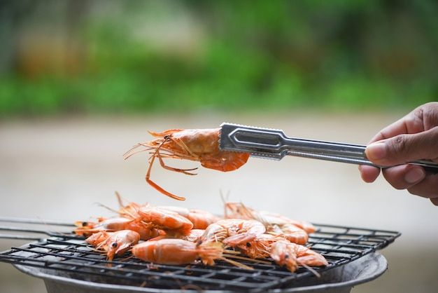 Shrimp grilled on barbacue