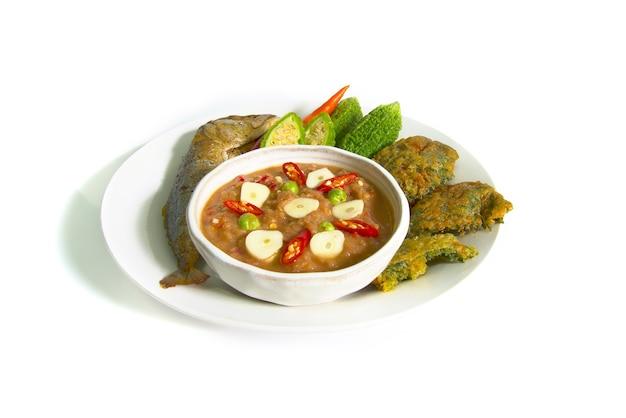 Shrimp paste sauce and vegetable set.