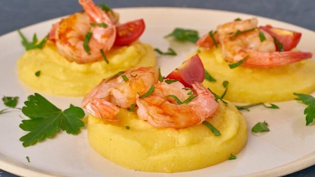 Shrimp & polenta - fodmap dash diet gluten free dish, side view