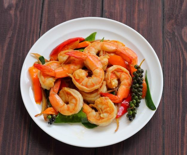 Shrimp puff peppers with herbs.