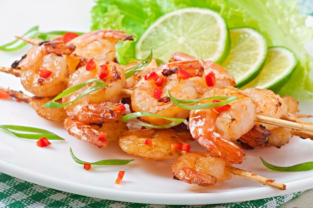 Shrimp sauteed in garlic and soy caramel