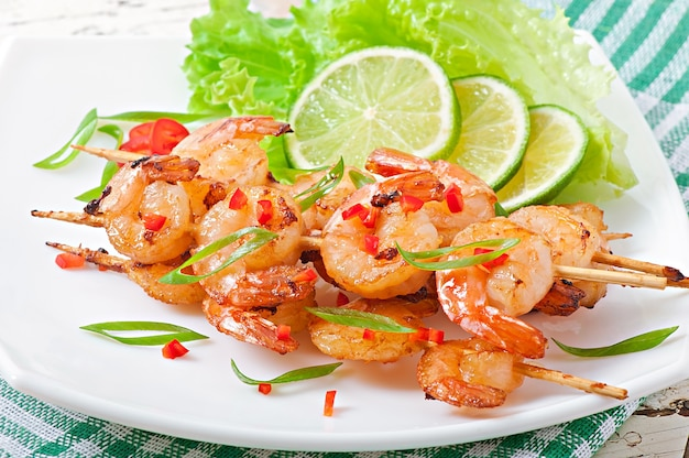 Shrimp sauteed in garlic and soy caramel