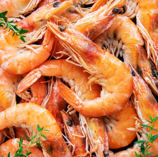 Shrimps as a food background