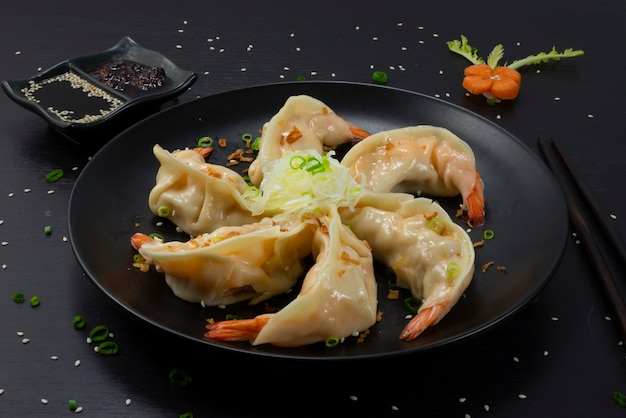 Shrimps dumplings steamed recipe with soy sauce