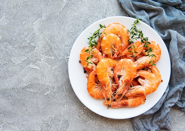 Shrimps on a plate with copyspace