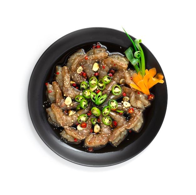 Креветки saewoojang в соевом соусе, маринованные, посыпать чили чесноком