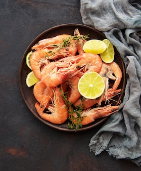 Shrimps served on a plate