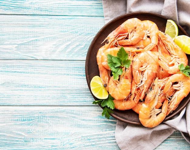 Shrimps served on a plate