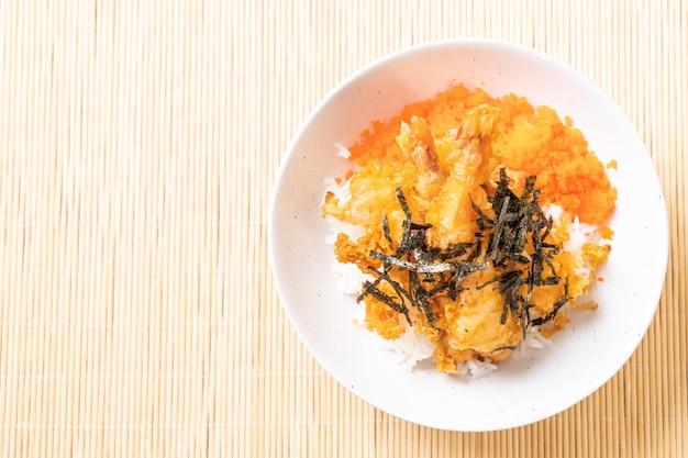 エビの卵と海苔の天ぷら丼