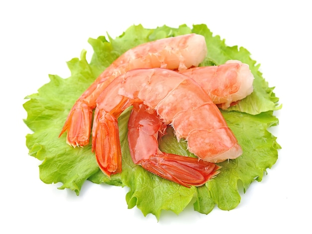 Креветки с салатом на белом фоне