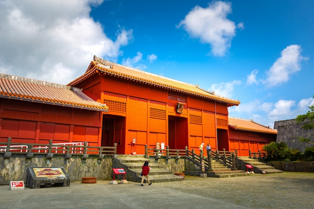 Shureimon gate in shuri castle in okinawa, japan.