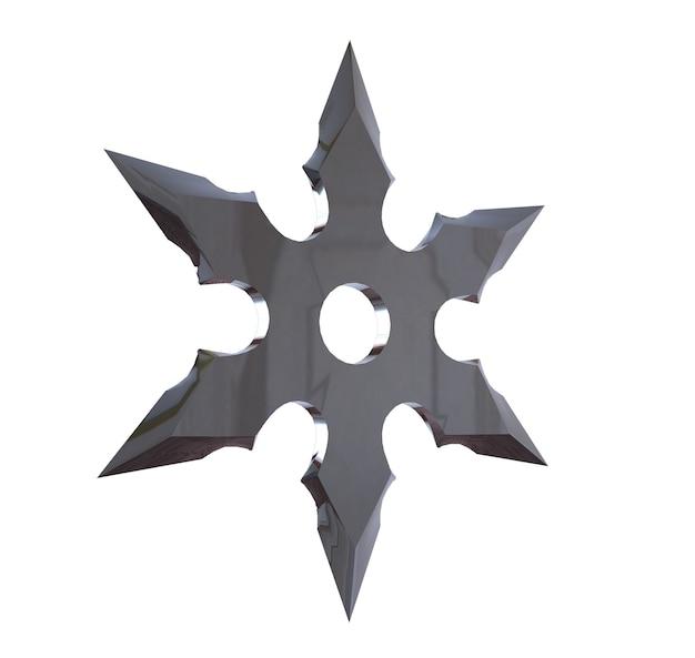 Сюрикен. 3d иллюстрации на белом фоне