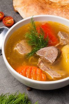 Shurpa is a traditional uzbek soup with lamb