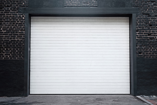 Shutter door or roller door and concrete floor outside