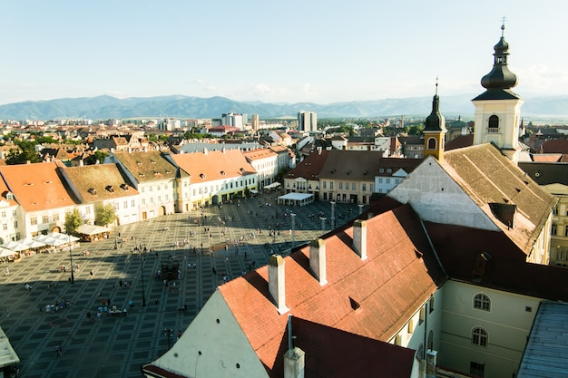 Sibiu - romania, july 18, 2017: piata mare large square in sibiu, romania in summer time