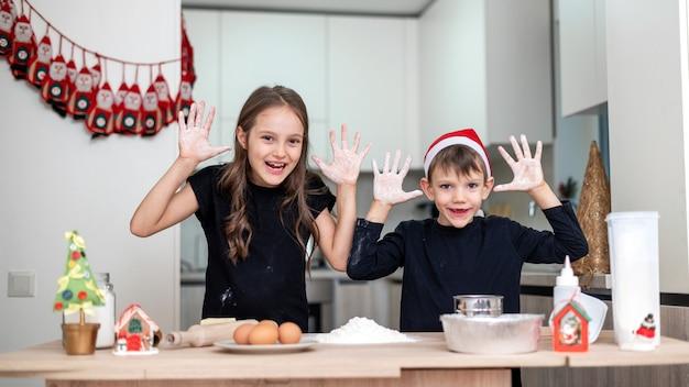 형제 자매는 크리스마스 모자를 쓴 소년, 부엌에서 요리하고 장난 치고 있습니다. 행복한 아이 아이디어