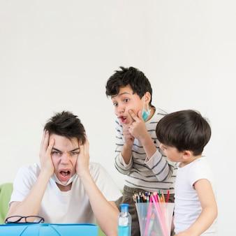 Siblings at home while quarantine