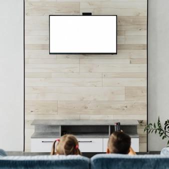 テレビを見ている兄弟