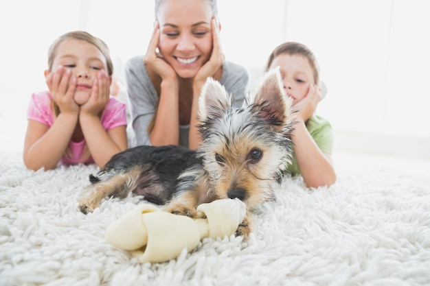 Siblings lying on rug looking at their yorkshire terrier with mother