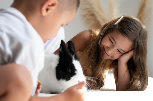 그들의 토끼 애완 동물과 노는 형제 자매