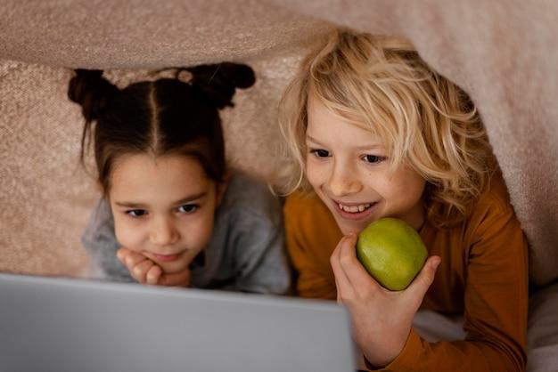 Siblings watching video on laptop