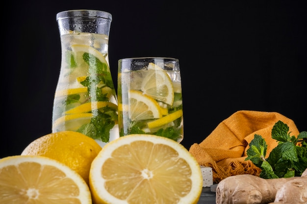 Sicilian lemon juice with ginger and mint - flavored water.