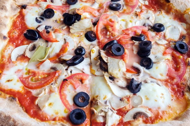 Sicilian pizza close up