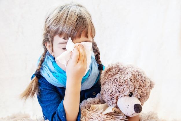 Sick child girl. prescribe treatment. selective focus.