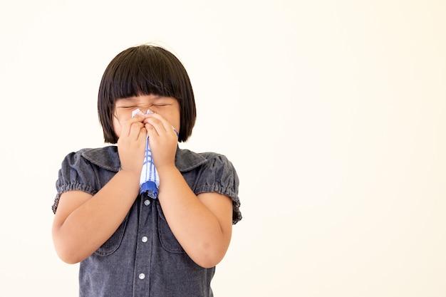 Sick little girl ordering a handkerchief