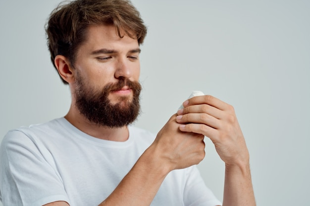 아픈 사람 손 부상 치료 건강 문제 밝은 배경