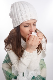 Sick teenager coughing