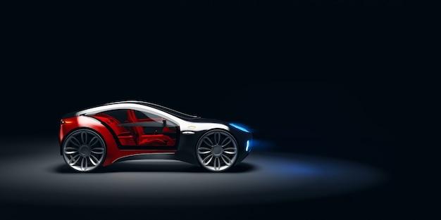 Боковой угол обзора футуристического быстрого спортивного автомобиля в студийном свете. безбрендовый концепт-кар. 3d иллюстрации