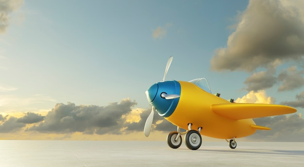 Side angle view of retro cute yellow and blue two seat airplane park at the airport runway. evening scene .3d rendering .