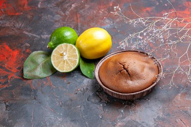 Vista ravvicinata laterale cupcake al cioccolato un appetitoso cupcake al cioccolato rami di alberi di agrumi