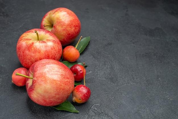 側面のクローズアップビューは、葉で食欲をそそるベリーとリンゴを実らせます
