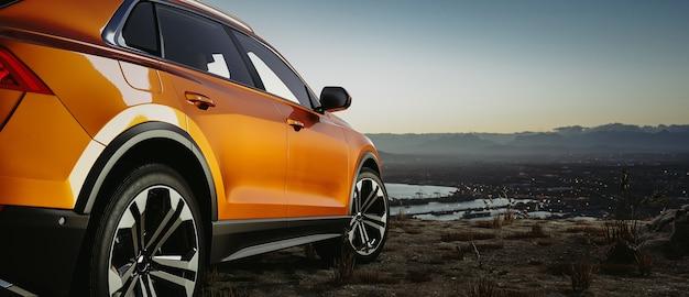 Сторона автомобиля, современный автомобильный перед восходом солнца или после заката, 3d визуализация и иллюстратор.